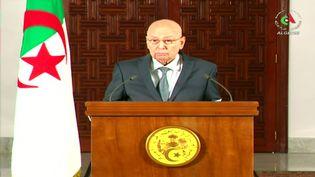 Le chef de l'Etat algérien par intérim, Abdelkader Bensalah, s'exprime dans un discours à la nation retransmis par la télévision publique, le 15 septembre 2019. (ALGERIAN TV)
