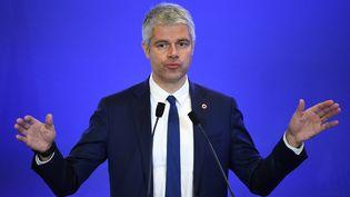 Laurent Wauquiez, président du parti Les Républicains, le 18 avril 2018, à Paris. (ERIC FEFERBERG / AFP)