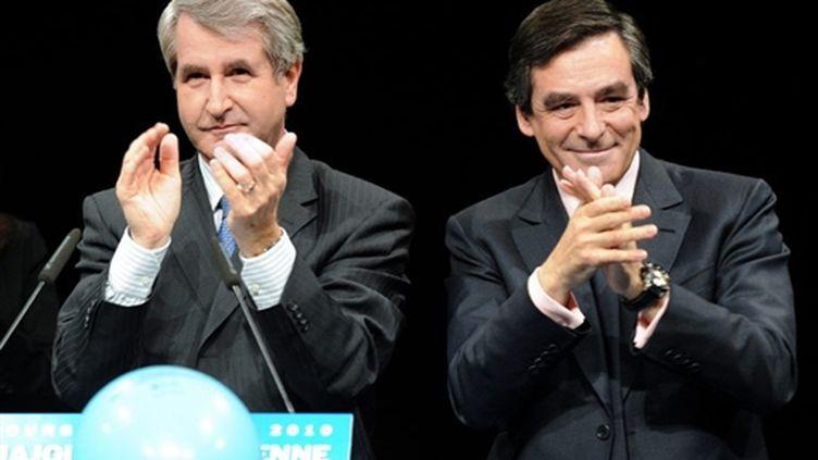François Fillon en meeting à Strasbourg avec Philippe Richert, tête de liste UMP en Alsace (18 mars 2010) (AFP / Patrick Hertzog)