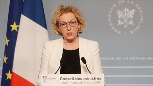 Muriel Pénicaud, le 1er avril 2020, lors d'une conférence de presse au palais de l'Elysée, à Paris. (LUDOVIC MARIN / AFP)
