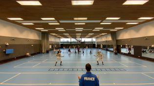 L'équipe de France de sabre en compétition sur ses terres d'entrainement à l'INSEP (CECILIA BERDER / FRANCEINFO / RADIO FRANCE)