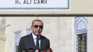 Le président turcRecep Tayyip Erdogan lors d'une conférence de presse à Istanbul, le 23 octobre 2020. (CHINE NOUVELLE/SIPA / XINHUA / AFP)