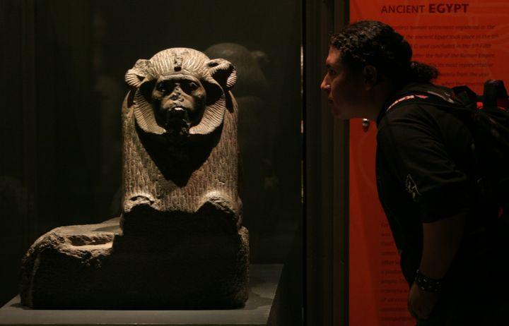 Lastatue en granit du pharaon Amenemhat III présentée lors de l'exposition de Monterrey en 2007. (TOMAS BRAVO / X01760)