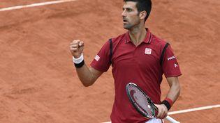 Le Serbe Novak Djokovic remporte son match face à l'Espagnol Roberto Bautista, à Roland-Garros, le 1er juin 2016. (MIGUEL MEDINA / AFP)