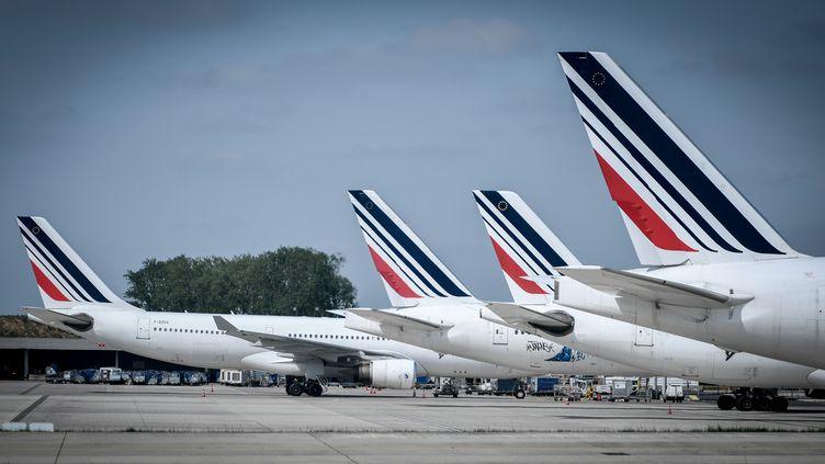 Des avions d'Air France à l'aéroport de Roissy-Charles de Gaulle, le 24 avril 2018. (STEPHANE DE SAKUTIN / AFP)