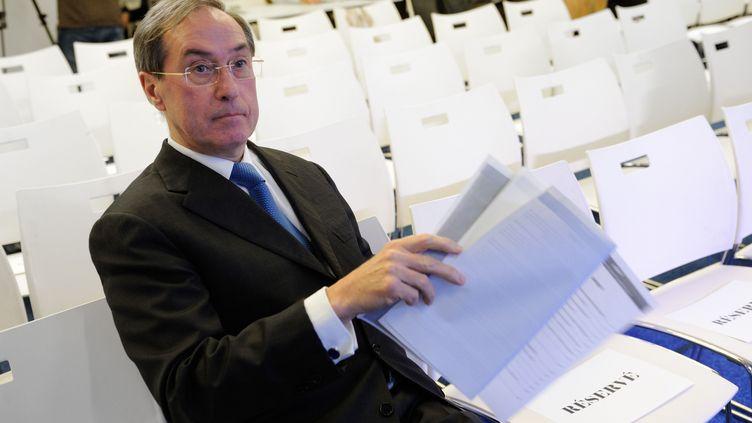 L'ancien ministre de l'Intérieur, Claude Guéant, le 21 mars 2013 au siège de l'UMP, à Paris. (WITT / SIPA)