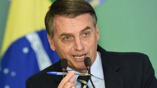Le président brésilien Jair Bolsonaro brandit un stylo Bic lors de la signature d'un décret, à Brasilia, le 15 janvier 2019. (EVARISTO SA / AFP)