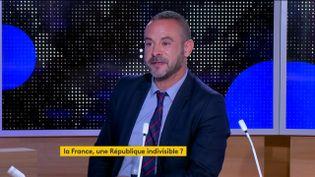 Laurent Kupferman, essayiste et historien, spécialiste de la République, était l'invité du journal de 23 heures de franceinfo, vendredi 4 septembre. Il est revenu sur le discours d'Emmanuel Macron au Panthéon (Paris), où le président a célébré l'anniversaire de la Troisième République, vendredi 4 septembre. (FRANCEINFO)