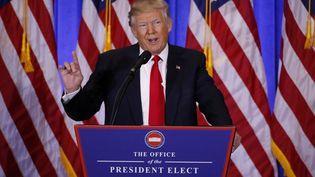 Le président élu des Etats-Unis, Donald Trump, lors de sa première conférence de presse depuis son élection, le 11 janvier 2017, à la Trump Towerà New York.   (LUCAS JACKSON / REUTERS)