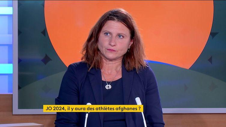 La ministre des Sports, Roxana Maracineanu, lundi 13 septembre 2021 sur franceinfo. (FRANCEINFO)