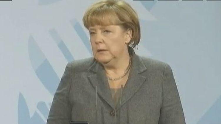 Angela Merkel, Berlin 6 décembre 2011 (Vidéo :Arnaud Boutet et Brice Boussouar / France 2)