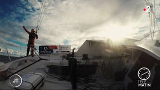 Ari Huusela, sur son navire lors du Vendée Globe 2020-2021. (France 2)