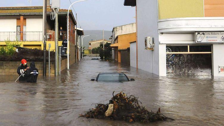Le village d'Uras, en Sardaigne (Italie), inondé après le passage du cyclone Cléopatra, le 18 novembre 2013. (ALESSANDRA CHERGIA / AP / SIPA)