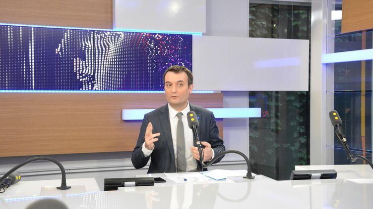Florian Philippot,vice-président du FN, invité à franceinfo mercredi 1er mars 2017. (RADIO FRANCE / JEAN-CHRISTOPHE BOURDILLAT)