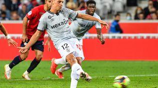 Le Rémois Alexis Flips avait inscrit le seul but de son équipe lors du match face à Lille, le 22 septembre 2021. (DENIS CHARLET / AFP)