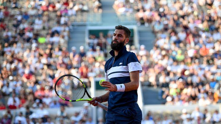 Benoît Pairelors de son 8e de finale face à Kei Nishikori, le 2 juin 2019. (ANNE-CHRISTINE POUJOULAT / AFP)