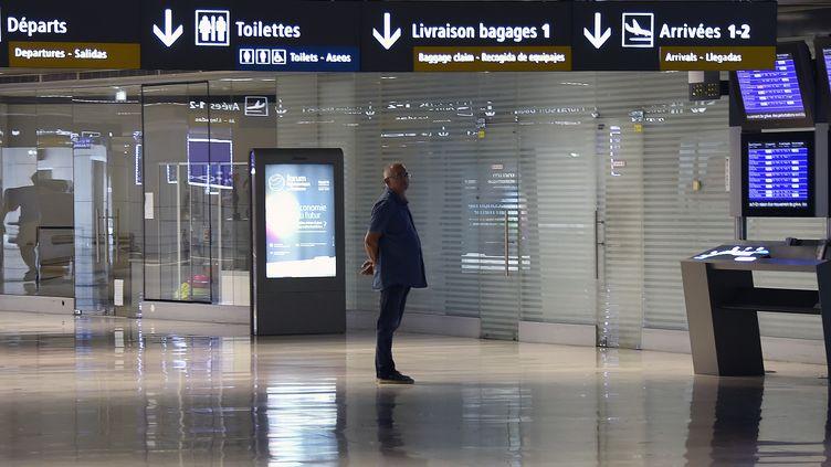 A l'aéroport de Toulouse, un passager consulte les horaires des avions, le 15 septembre 2014. (PASCAL PAVANI / AFP)