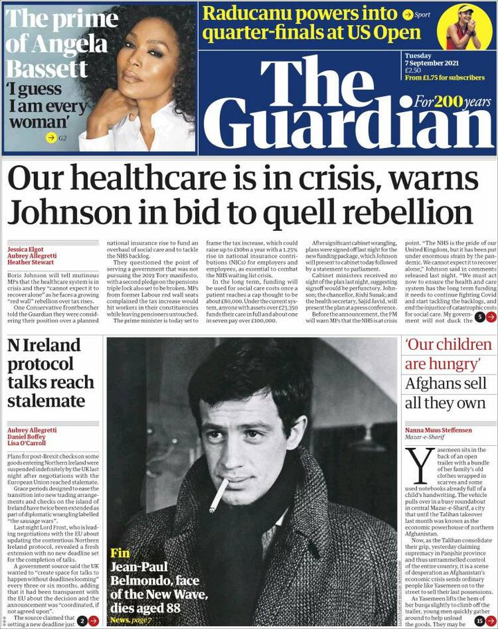 """La une du journal """"The Guardian"""", le 7 septembre 2021. (THE GUARDIAN)"""