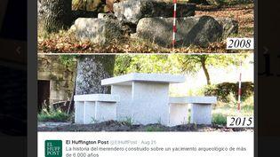 Capture d'écran d'un tweet du Huffington Post, le 25 août 2015, montrant les tombes néolitiques d'Ardesende (Galice, Espagne) qui ont été remplacées par une table de pique-nique. (EL HUFFINGTON POST / TWITTER)