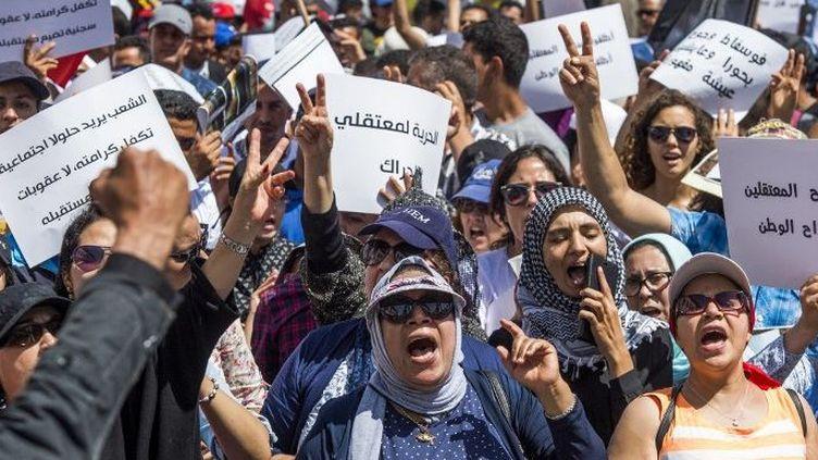 Des milliers de manifestants protestent contre l'emprisonnement de dirigeants du Hirak al-Chaabi, le «Mouvement populaire», le 15 juillet 2018 à Rabat. (Fadel Senna / AFP)