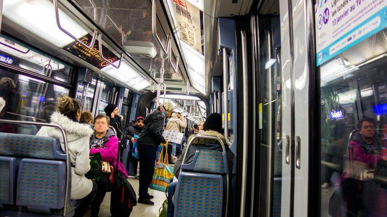 Une rame de la ligne 14 du métro parisien, le 20 janvier 2020, lors d'un mouvement de grève à la RATP. (BRUNO LEVESQUE / MAXPPP)