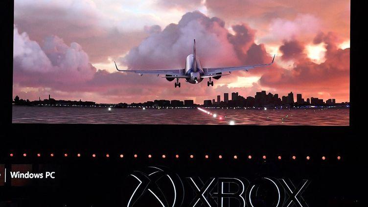 """Le jeu vidéo Flight Simulator, développé par le studio français Asobo, a remporté le """"Pégase"""" du meilleur jeux vidéo français de l'année. (MARK RALSTON / AFP)"""