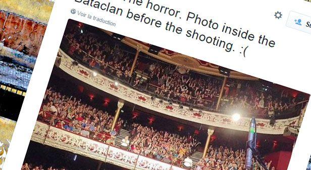 (Un compte Twitter affirme montrer le Bataclan avant la fusillade © Capture d'écran Twitter)