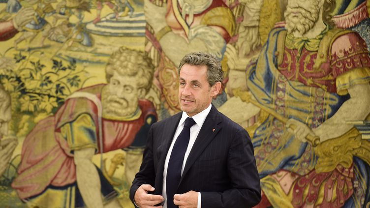Nicolas Sarkozy rend visite au roi Juan Carlos à Madrid (Espagne), le 27 mai 2014. (GERARD JULIEN / AFP)