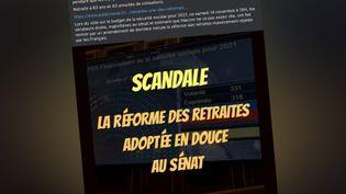 Post Facebook affirmant que la réforme des retraites a été adoptée au Sénat. (CAPTURE D'ÉCRAN)