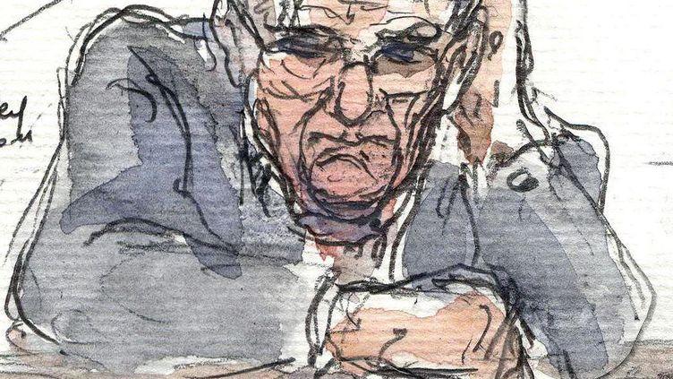 Dessin d'audience représentant Dieter Krombach, le 21 octobre 2011, la veille du verdict de son procès aux assises. (BENOIT PEYRUCQ / AFP)