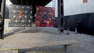 Une oeuvre de Banksy réalisée en octobre 2013 dans les rues de New York et protégée par des vigiles  (DENNIS VAN TINE/GEISLER-FOTOPRES / GEISLER-FOTOPRESS / PICTURE-ALLIANCE/AFP)