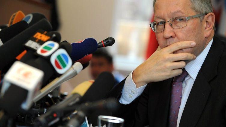 Le directeur du Fonds européen de stabilité financière, Klaus Regling, à Pékin en Chine, le 28 octobre 2011. (PETER PARKS / AFP)