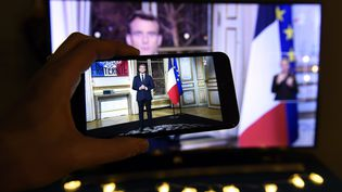 Emmanuel Macron lors de ses vœux aux Français, le 31 décembre 2018. (ALEXANDRE MARCHI / MAXPPP)
