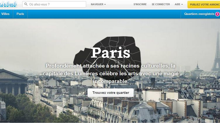La France est le deuxième plus gros marché pour le site américain Airbnb, après les Etats-Unis. (AIRBNB / FRANCETV INFO)