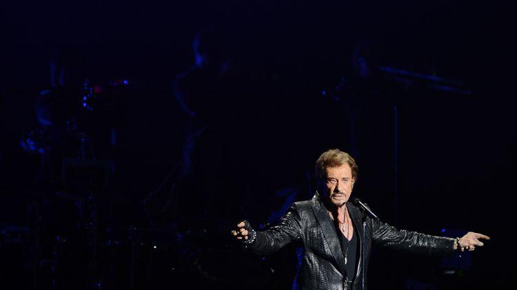 Le chanteur Johnny Hallyday se produitlors d'un concert à Moscou (Russie), le 27 octobre 2012. (NATALIA KOLESNIKOVA / AFP)