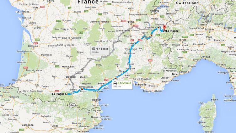 Le chauffeur d'un bus de belges a confondu La Plagne en Savoie et La Plagne en Ariège, faisant un détour de 1200 kilomètres, en mars 2015. ( GOOGLE MAPS)