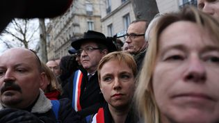 Jean-Luc Mélenchon, dans le cortège en mémoire de Mireille Knoll, à Paris, le 28 mars 2018. (AURELIEN MORISSARD / MAXPPP)