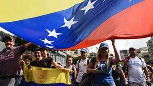Manifestation à Caracas au Venezuela, le 23 janvier 2019. (FEDERICO PARRA / AFP)