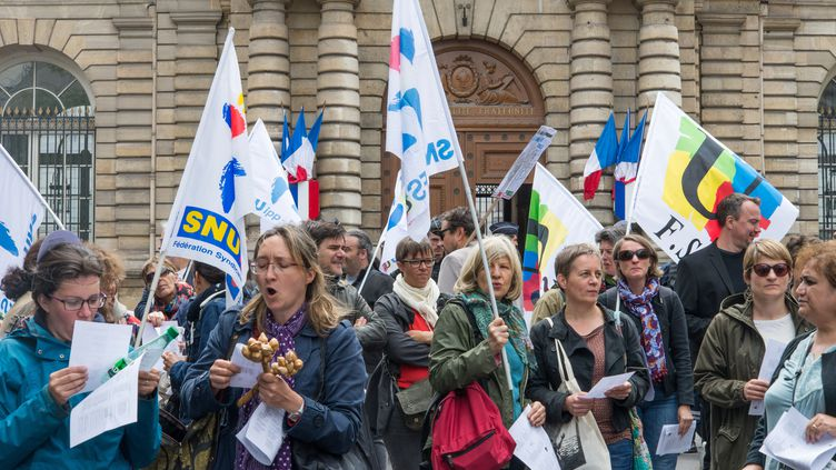 Des profs manifestent contre la loi Blanquer, à Paris, le 13 juin 2019. (RICCARDO MILANI / HANS LUCAS)