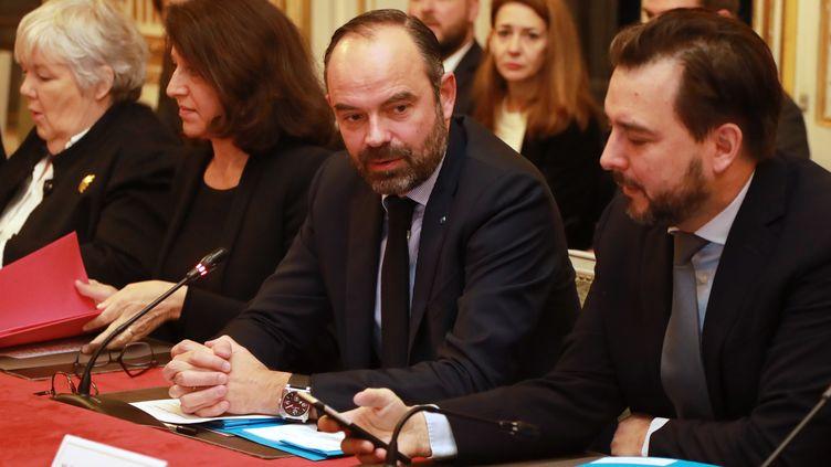 Le Premier ministre, Edouard Philippe, le 17 janvier 2019 à l'hôtel de Matignon à Paris, lors d'une réunion sur le Brexit. (JACQUES DEMARTHON / AFP)