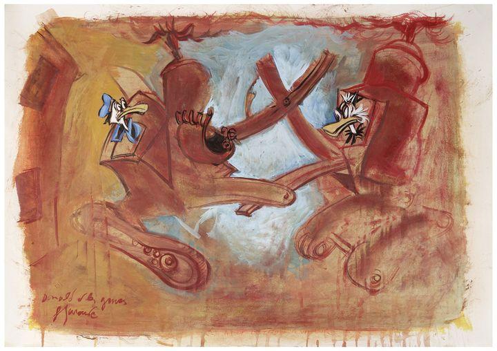 Donald et les gruespar Gérard Garouste.2014.Aquarelle sur papier.63 x 90 cmavec cadre  (DR )