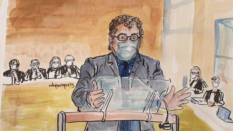 Patrick Pelloux témoigne à la barre, devant la cour d'assises spéciale de Paris, le 9 septembre 2020. (ELISABETH DE POURQUERY)