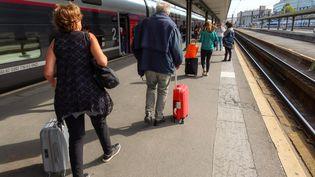 Des voyageurs sur un quai de la gare de Lyon, à Paris, le 13 octobre 2019. (NICOLAS GUYONNET / HANS LUCAS / AFP)