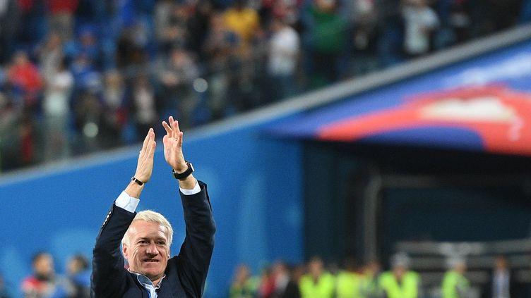 Didier Deschamps lors de la demi-finale de la Coupe du monde 2018 entre la France et la Belgique, le 10 juillet 2018 à Saint-Pétersbourg (Russie). (VLADIMIR ASTAPKOVICH / SPUTNIK)
