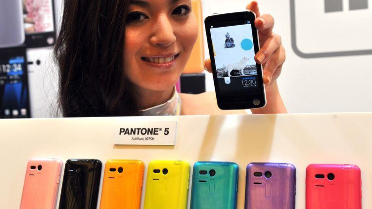 """Un mannequin présente le """"Pantone 5"""", le smartphone équipé d'un dosimètre pour mesurer la radioactivité ambiante, le 29 mai 2012 à Tokyo (Japon). (YOSHIKAZU TSUNO / AFP)"""