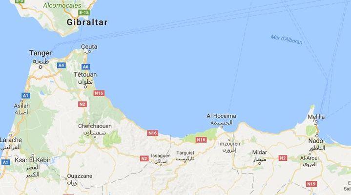 Capture d'écran Google Maps des enclaves espagnoles de Ceuta et Melilla, au Maroc, le 22 août 2017. (GOOGLE MAPS)