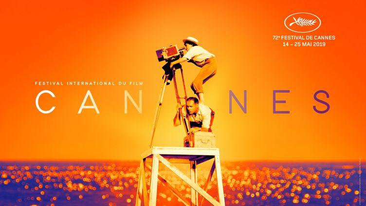 L'affiche de la 72e édition du Festival de Cannes, dévoilée le 15 avril 2019. (FLORE MAQUIN / FESTIVAL DE CANNES / FILIFOX / AFP)
