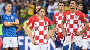 Des joueurs de l'équipe de Croatie après la défaite en finale de la Coupe du monde face à la France, le 15 juillet 2018. (FRANCK FIFE / AFP)
