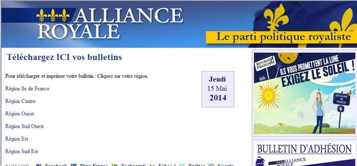 Capture d'écran du site d'Alliance royale, où les électeurs sont invités à télécharger et imprimer leur bulletin de vote pour les européennes. (ALLIANCE ROYALE / FRANCETV INFO )