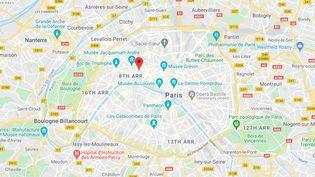 Paris, 8e arrondissement. (CAPTURE ECRAN GOOGLE MAPS)